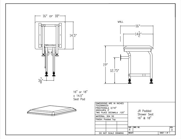 Folding Shower Seat with Legs from Grab Bars Canada